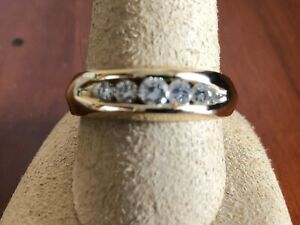 14k Solid Yellow Gold  Band Ring W/ 5 Diamonds Size 10, 8.7 Grams 0.5 cttw