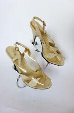 Vtg Shoes Sz 5N Clear Vinyl & Ivory Leather w Leaves Open Toe Slingback Stiletto