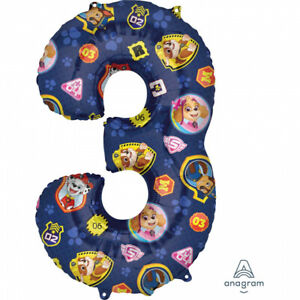 PAW PATROL NUMBER 3 BALLOON 3RD BIRTHDAY DECORATIONS PARTY DECORATIONS