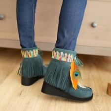 Retro Women Wedge Heels Fur Lined Feather Decor Tassel Lace Up Ankle Boots Shoes