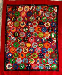 Red Fun Pictures Animals Food Dinos Crib Quilt Wall Hanging Panel Sewing Fabric