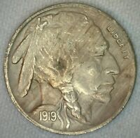 1919 Buffalo Indian Head Nickel 5c US Coin Five Cents XF Extra Fine