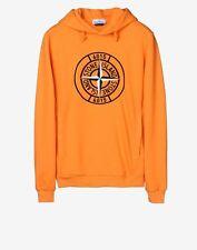 Stone Island Compass Cotton Hooded Sweatshirt In Orange BNWT