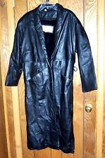 Braefair Leather NY Black Leather Long Coat with Zip in Fur Size M