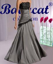 Vestido de fiesta y baile gris / Negro Encaje 34-48 NUEVO Top A253
