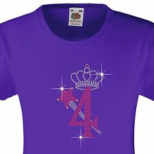 """Girl's Birthday TShirt """"4 with crown & wand"""" Rhinestone Embellished-Many Colours"""
