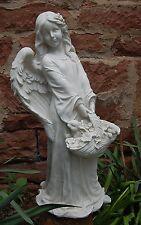 Engel antikweiß stehend hält Blumenkorb mit Hasen Garten Figur Grab Neu