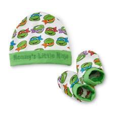 NEW 2PC BOYS MOMMY'S LITTLE TEENAGE MUTANT NINJA TURTLES BOOTIES SHOES & CAP HAT