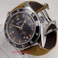 41mm CORGUET black dial orange hands date 21 jewels miyota Automatic mens Watch