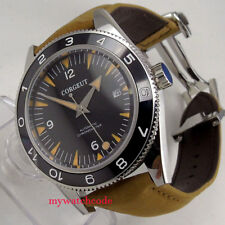 41mm CORGUET black dial orange hands date 21 jewels miyota Automatic mens Watch