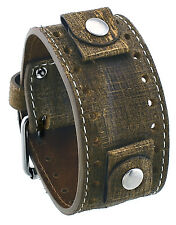 REV GS-C Golden Sahara Groot Pattern Camel Brown Wide Leather Cuff Watch Band