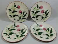 "Stangl Pottery Thistle Pattern Pink & Green 9.25"" Luncheon Plates Set of 4"