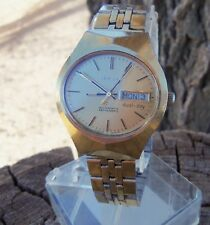 Men's Vtg Bulova Set O Matic N7 1977 Gold Tone Watch All Original Works No Rsv