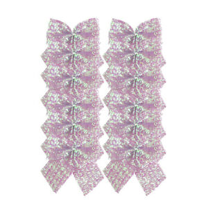 12 x Sparkling Pink Iridescent Bow Christmas Decorations 6cm (Tie on)