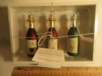 Set of 3 Christmas ornaments wine bottles shaped red rose white in gift box NEW