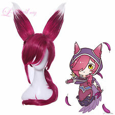 League of Legends LOL Xayah The Rebel Styled Dark Red Cosplay Wig USA Ship