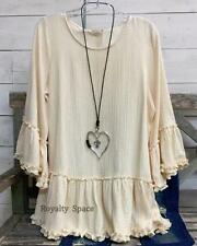 100% COTTON HIPPIE-CHIC BOUTIQUE STYLE TUNIC BEIGE SWEATER RUFFLED TRIM TOP- 1X