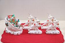 Mid Century NAPCO Spaghetti Trim Sleigh & Four Reindeer 1956  Hard To Find !