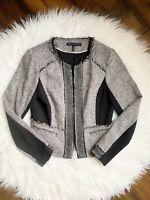 White House Black Market Tweed Fringe Womens Blazer Jacket Zipper Closure Sz 6