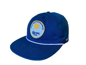 Corona Hat Rhythm Cap From Where You'd Rather Be Navy Blue Beer Adjustable Size