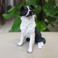 Resin MINI english sheepdog Border Collie Hand Painted simulation model Statue