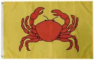 """Crab Advertising Yellow 100D Woven Poly Nylon 12x18 12""""x18"""" Flag Banner Grommets"""