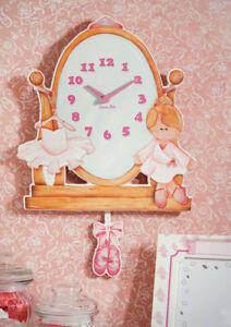 Children's Ballerina Wooden Wall Clock With Pendulum / Hand Crafted, Solid Birch