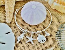Beach Seashell Expandable Wire Bangle Bracelet Sand Dollar Starfish Conch Shells