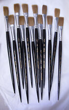 "ONE DOZEN Vintage Fox Series 324-A OX HAIR PAINT BRUSHES - 1/2"" Flats - Size 14"