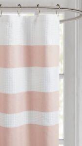 "Luxury Blush Pink & White Striped Waffle Weave Fabric Shower Curtain - 72"" x 72"""
