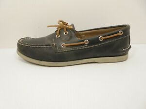 Nice! Mens Gray Leather SPERRY TOP SIDER A/O Boat Shoes - Size US 11 M