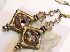 EARRINGS HAMMERED BRASS CZECH GLASS CLEAR PICASSO NUGGET GOLDEN SHADOW SWAROVSKI