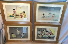 Lot of 4 1940s HITOSHI KIYOHARA Japanese Children Themed Framed Woodblock Prints