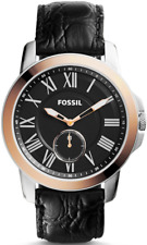 Fossil Men's FS4943 Grant Round Black Leather Strap Watch
