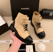 Chanel Pre-Fall 2020 Beige Quilted Leather Lace Up Boots / Size 38