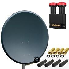 PremiumX HD SAT Anlage 80cm Schüssel Spiegel Antenne Quad Monoblock LNB HDTV 4K