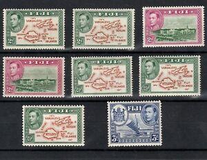 FIJI 1938 SELECTED MINT KING GEORGE VI STAMPS INCLUDING VARIETIES