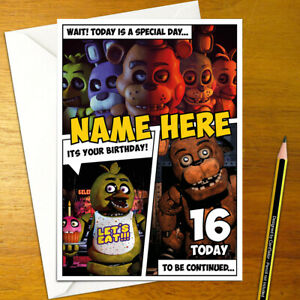 FIVE NIGHTS AT FREDDY'S Personalised Birthday Card - fnaf personalize scary game