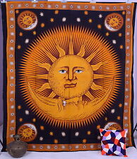 Sun & Moon Print Indian Hippy Wall Hanging Tapestry Throw Vintage Bedspread