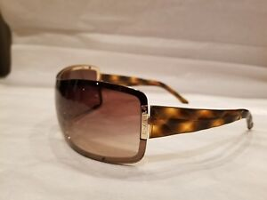Chanel Brown Tortoise Shell Quilted Shield 4126 125/13 Sunglasses 100% authentic