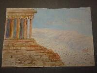 Ecole FRANCAISE XX DESSIN AQUARELLE VUE ACROPOLE ATHENES GRECE GREECE 1920