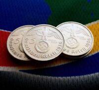 1936 D 5 Mark WW2 German Silver Coin (1)  Third Reich Swastika Reichsmark