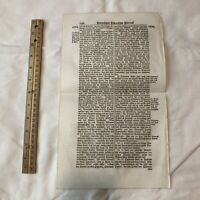 LARGE 1700's German Folio Manuscript Book Leaf - Decor Document Old Antique X