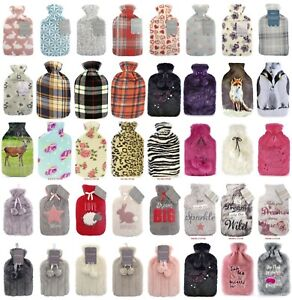 Soft Cosy Fur Fleece Sherpa Cover Hot Water Bottle With Removable Cover 2 Litres