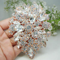 Rose Gold Tone Elegant Flower Drop Pendant Brooch Pin Clear Rhinestone Crystal