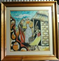 African Batik Picture On Fabric signed framed