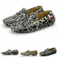 Chic Mens Leopard Slip On Moccasin-Gommino Loafer Casual Clubwear Driving Shoes