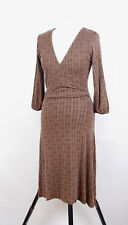 P345/63 Boden Sexy Fitted Brown Jersey 3/4 Sleeve Wrap Dress, size 10 R