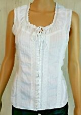 Coupe Womens White Peasant Blouse Hook & Eye Cinch Eyelet  Short Sleeve Medium