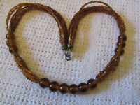"""Brown Glass Bead Multi Strand Necklace of Unknown Vintage - 22"""" long"""